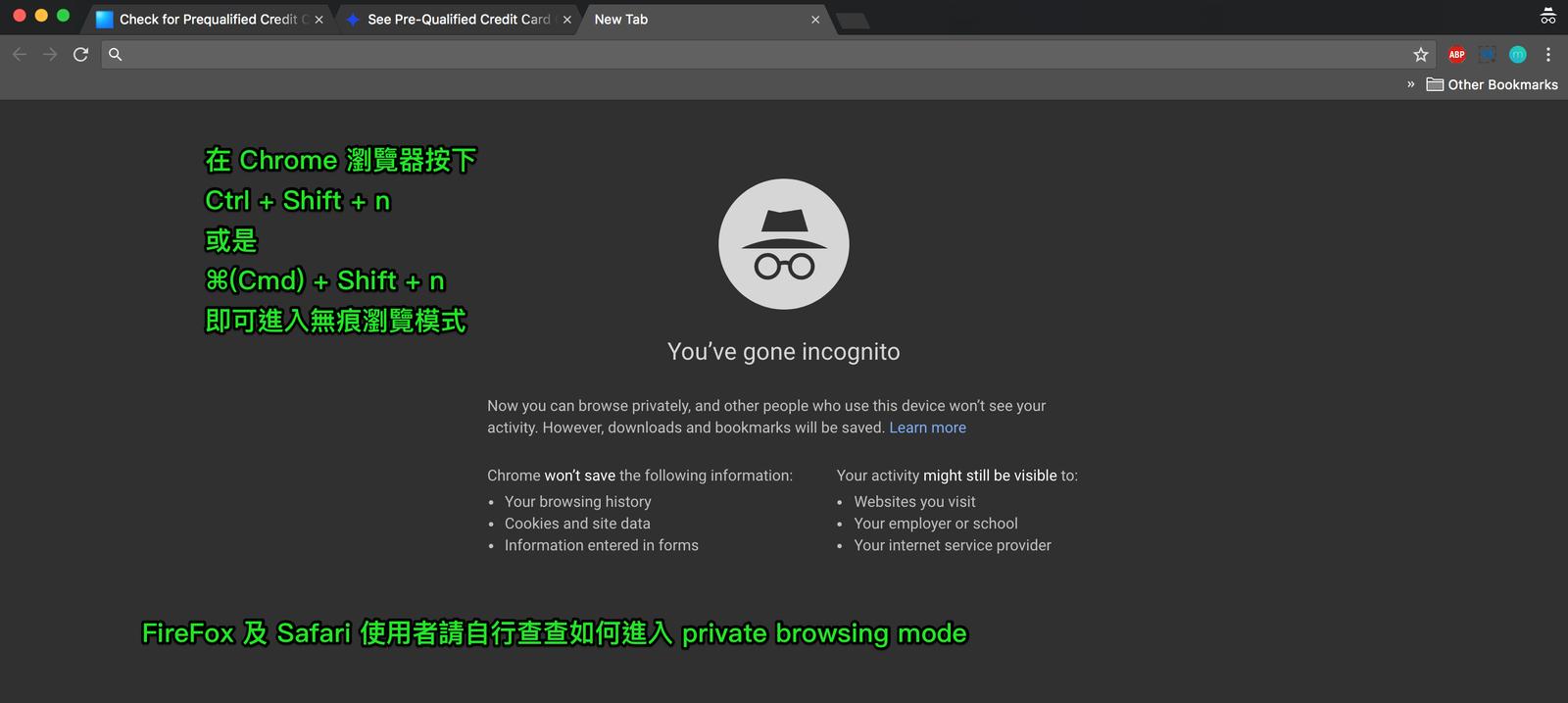 無痕 Incognito 瀏覽模式的色調比較暗,是深灰色的